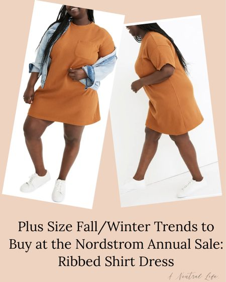 #NSale I'm sharing the plus size fall/winter staples you can buy TODAY at the Nordstrom sale. I am obsessed with this comfy yet chic ribbed t-shirt dress. T-shirt dresses are a something everyone needs, and adding the ribbed detail really elevates it.   #LTKunder100 #LTKcurves #LTKsalealert