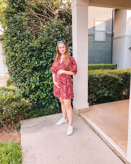 Target babydoll dress, fits true to size. Has pockets and comes in a ton of colors! Fav dress for summer and will fit the bump for a while! White velcro sneakers  Eyebuydirect prescription sunglasses  http://liketk.it/3jhl1 #liketkit @liketoknow.it #LTKbump #LTKunder50 #LTKstyletip