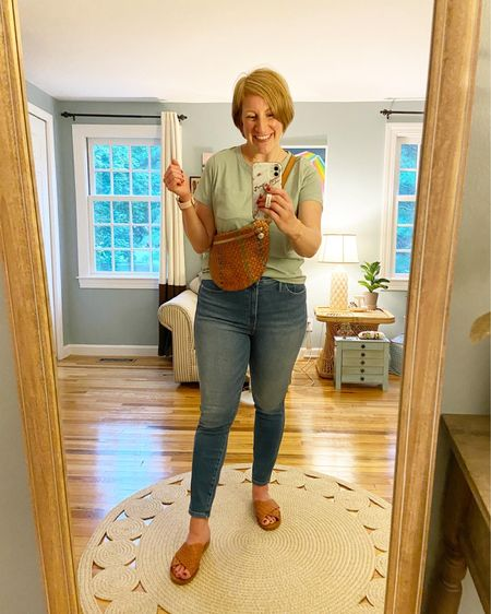 Tee is a large (size up) and jeans ran large, so I took my smaller size (28).   Sandals are from Target (universal thread) last summer and Clare V grande fanny bag was a find on ThredUP.
