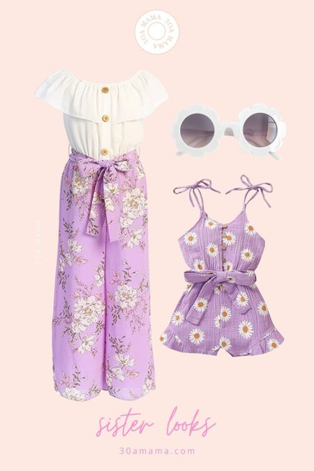 Adorable big sis / little sis coordinating outfits. This would be so cute for vacay or family photos. Flower sunnies are from shop.30amama.com  30A Mama // packing for Jekyll Island  #LTKkids #LTKfamily