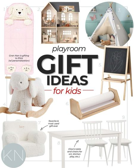 Playroom gift ideas for kids — perfect for gifting by parents, grandparents and Santa! Kid gift guide Christmas gift guide teepee tent bunny rocker art easel toddler sleeping bag play table play chair everywhere chair  #LTKGiftGuide #LTKHoliday #LTKkids