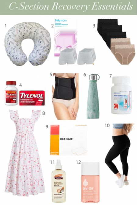 C-section recovery essentials - postpartum products. I recommend the Boppy, high waisted underwear - it's great c-section underwear, disposable underwear, swell water bottle, postpartum leggings, postpartum workout leggings, body oil, nap dress bc it's comfortable for your incision and it's breastfeeding friendly.   #LTKunder100 #LTKbaby #LTKbump