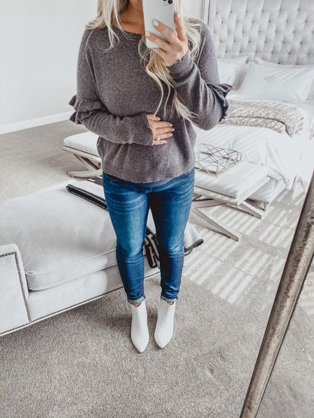 Calling all prego mamas!! I've truly found the holy grail of maternity jeans 🙌🏻 The quality is amazing and they stay put! I have 5 out of the 8 pairs I linked 🙈 (wearing the first ones linked in this photo) I am so glad I can still wear my skinny jeans while pregnant this time around and not spend a fortune on items that will no longer fit post partum 👏🏻  My sweater is sold out but linked the T-shirt version of the same brand and linked some white booties because let's be honest they're sticking around for a little longer and I'm not even the least bit upset about it 😍 http://liketk.it/2KMqD #liketkit @liketoknow.it #LTKbump #LTKbaby #LTKunder50 @liketoknow.it.family