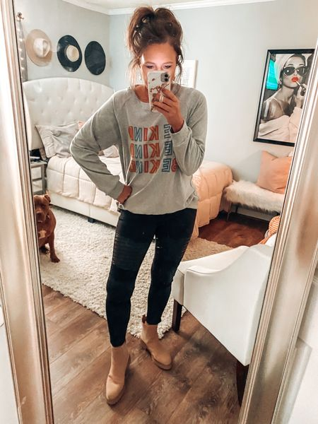 Be Kind Amazon sweatshirt with moto leggings from Target and Chelsea lug combat boots. Target style, Target outfits   Fall outfit, Amazon fashion, trends, weekend outfits, graphic sweatshirts, fall boots #ltkfall #founditonamazon  #LTKunder50 #LTKsalealert #LTKshoecrush