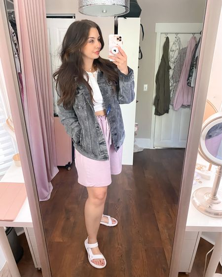 Can't get over this look that's almost completely from Walmart! Found the jacket and shorts in the men's section (jacket on clearance for $13, shorts $9.96 reg. price), the shoes are under $8, and the top is from Target and only $5 ☀️ Make sure to check out all my other Walmart finds in my other posts - everything is under $30 and most of my finds are under $15!  Sizes: Jacket - men's large Shorts - men's 2XL (sized up for extra bagginess in the legs) Top - medium Shoes - true to size (size 8)   http://liketk.it/3fcHh #liketkit @liketoknow.it #LTKcurves #LTKseasonal #LTKsalealert #LTKunder50