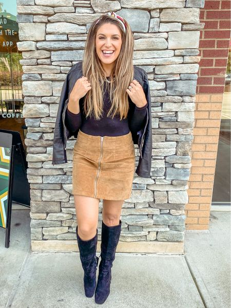 """First day of fall and all the girls brought out their favorite fall boots and said """"AMEN"""" 😻🍂✨✌🏻🍾   Cheers to boots + orange leaves + hot lattes + a HALLLEEE of a lot more of this amazing weather we got going on here in God's country ✌🏻♥️👢 http://liketk.it/2XaLW #liketkit @liketoknow.it #LTKfall #LTKunder50 #LTKstyletip"""