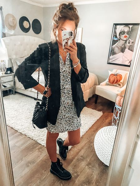Leopard print dress on sale, boyfriend blazer from Amazon and Madden Girl combat boots. All fit tts   Fall dresses, dresses, sale, blazer outfit, combat boots outfits, workwear, weekend outfits, date night outfit, fashion over 40, fall #ltkfall  #LTKunder50 #LTKsalealert #LTKstyletip