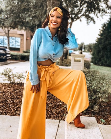 Nothing can dim the light that shines from within ☀️#soulful #letyourlightshine 💛 http://liketk.it/2zeWZ #liketkit #LTKbeauty #LTKcurves #LTKeurope #LTKshoecrush #LTKstyletip @liketoknow.it.europe You can instantly shop my looks by following me on the LIKEtoKNOW.it app @liketoknow.it  Top: #Blue #Denim Crop Top by @forever21  Bottoms: #FreeBird Pants by @mura_boutique  Shoes: #Velvet Boots by @forever21 Hair: #Yellow headband by francescas  Jewelry: Yellow #tasselearrings by @francescas