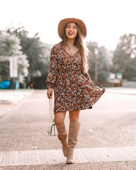 Nordstrom Anniversary Sale nsale outfit BB Dakota paisley dress - XS / TTS  Sam Edelman suede square toe knee high boots - 5.5 / size up  Suede packable travel fall hat   @liketoknow.it http://liketk.it/3jZ89 #liketkit #LTKtravel #LTKworkwear #LTKsalealert