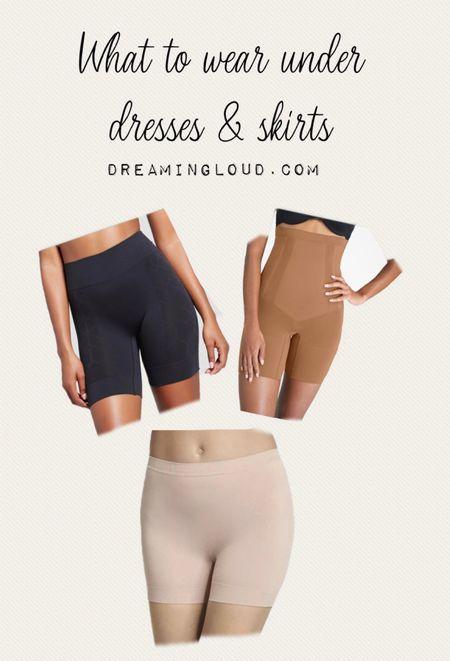 Best shorts to wear under dresses and skirts, shortie, jockey slipshort, Spanx mid thigh shorts   #LTKunder50 #LTKbacktoschool #LTKSeasonal