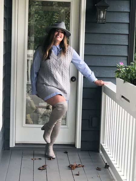 The Long sweater vest is such a hot trending item For Fall and Winter.    I love this cable knit for added texture. You can also belt it for more definition.  Are you brave enough to wear it with a long tunic shirt and OTK boots? ( hot trend alert)   You can actually wear bike shorts underneath …😅.   #LTKshoecrush #LTKstyletip #LTKtravel