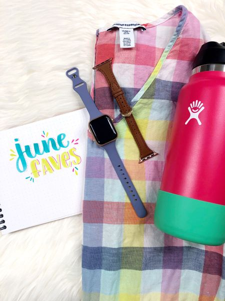 My June Faves feature a Hydro Flask insulated water bottle, Amazon fashion rainbow plaid romper, and affordable leather and silicone Apple Watch bands.   #LTKstyletip #LTKunder50 #LTKSeasonal