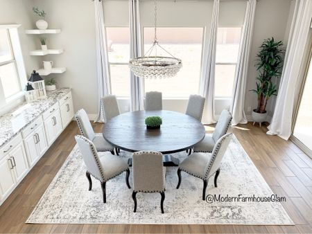 Neutral area rug in dining room ModernFarmhouseGlam, dining room chairs, crystal chandelier, 120 inch curtains in white, ideas for round wooden Farmhouse dining room tables, kitchen table  #LTKsalealert #LTKhome