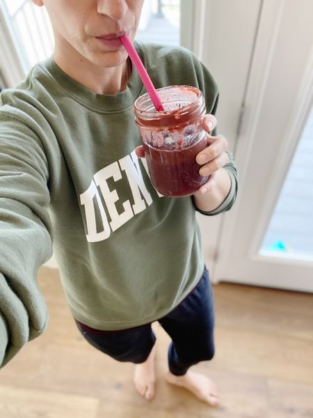 """On a """"green"""" smoothie kick lately! And loving my new sweatshirt find from #etsy"""