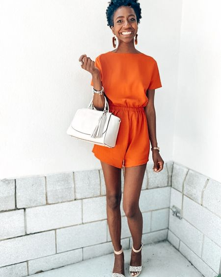 What's more confident than orange? What's more comfy than a romper? This little stunner is backless + it has a bow! How fun! It sure would look cute on you! Shop this look for your August style! | Romper | Jumpsuit | Kate Spade Bag | Wedges | Summer Outfit http://liketk.it/2TtcW #liketkit @liketoknow.it