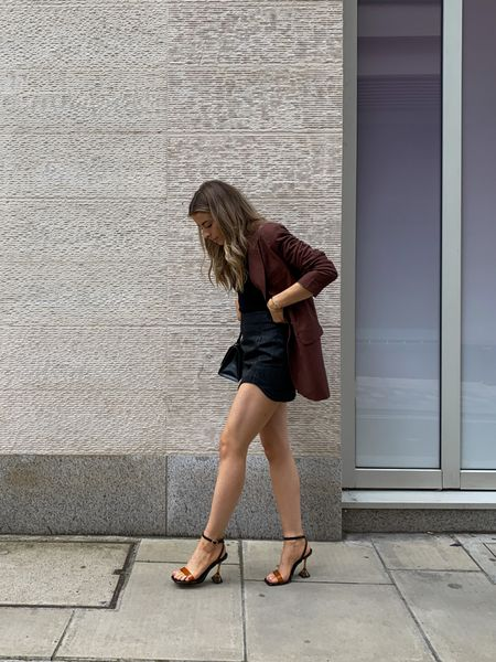 Friday night outfit Inspo sorted! I love this river island brown blazer teamed with a cute black mini skirt and these gorgeous brown and black heels      #LTKeurope