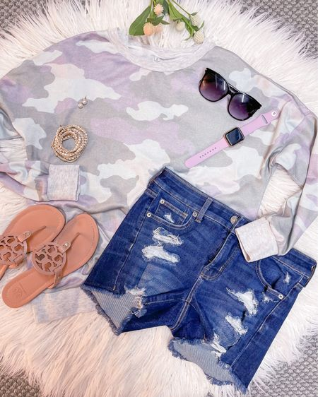 Spring fashion / outfit / style / camo pullover size small / American Eagle dream shorts fit TTS size 4 / Tory Burch Miller sandals size 1/2 size down / outfit ideas http://liketk.it/3fA7S #liketkit @liketoknow.it #LTKunder50 #LTKstyletip #LTKtravel