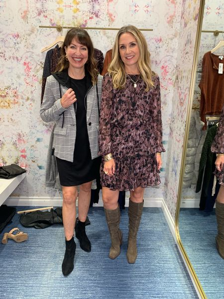 Styling dresses and blazers from @evereveofficial  Love these scrunched Western knee boots!  #lastseenwearing  Evereve, plaid blazer with removable hood, floral dress, long sleeve dress, Vince Camuto, black dress, puffed sleeve dress, fall dress, knee high boots, western boots, taupe boots, olive boots   #LTKshoecrush #LTKunder50 #LTKstyletip