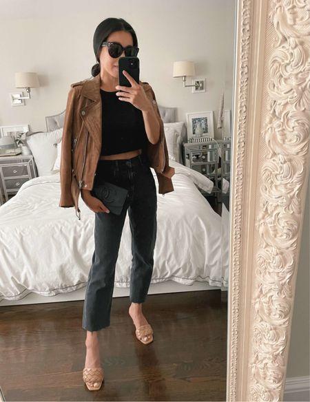 straight leg jeans + suede moto jacket  •Everlane cheeky jeans size 24  •Blank NYC suede moto jacket xs (sleeves shortened + included in Nordstrom Anniversary Sale!) •Express sandals •Celine sunglasses   #petite #nsale   #LTKsalealert #LTKstyletip