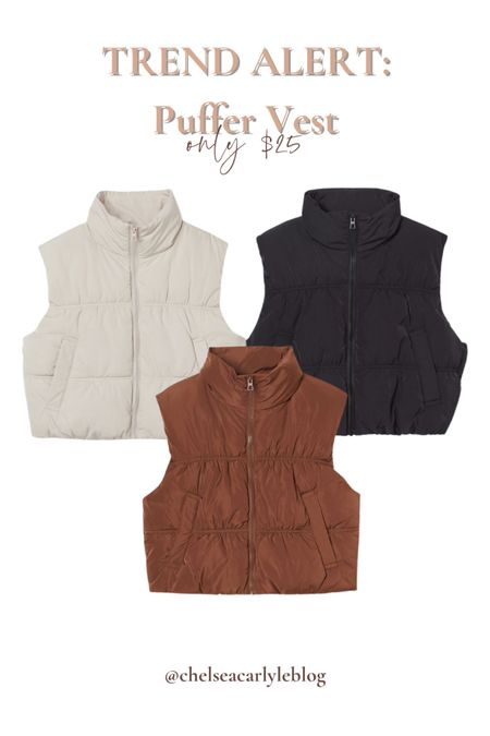 Fall trend alert! Puffer vests - get this cropped puffer vest for only $25.  | layers | fall fashion | trendy fashion | vest | hm | H&M |