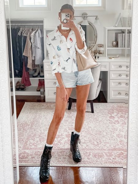 Fall outfits, shorts outfit, fall outfit, casual outfit, lug boots, combat boots, cat print, shein, button down blouse  #LTKstyletip #LTKshoecrush #LTKunder100