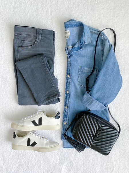 classy yet trendy, chambray shirt, gray jeans, Veja campo sneakers, YSL Saint Laurent crossbody bag #fallfavorites