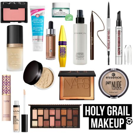 My Holy Grail Makeup! Shade/color information linked in below and in LTK!  -Too Faced Born This Way Foundation: I use 2 shades- Ivory (for winter) and Warm Nude (for summer); sometimes I'll mix the two and I love it! -Nars Bronzer: Laguna -Nars Blush: Orgasm -Maybelline Big Shot Mascara: Blackest Black -Stila Eyeliner: Dark Brown -Tarte Shape Tape: Light Sand -Nyx HD Concealer: CW 00 -Benefit Precisely My Brow: Shade 4 -Cover FX Drops: Moonlight -Essence Pure Nude Highlighter: 10 Be My Highlight -Laura Mercier Setting Powder: Translucent  #LTKbeauty #LTKgiftspo #LTKunder50 @liketoknow.it #liketkit http://liketk.it/31LJJ