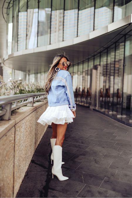 Fall outfit, crystal denim jacket, white knee high boots, fall style, best hoop earrings   #LTKstyletip #LTKSeasonal #LTKHoliday