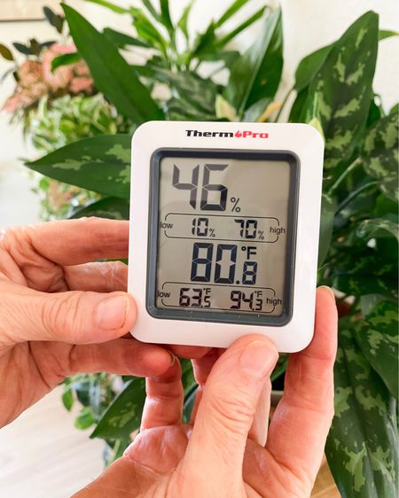 I grow a lot of indoor plants in every room of my home. This humidity reader lets me know if I have to turn on the humidifier for my houseplants. Most tropical and subtropical houseplants prefer humidity between 50-60%. Houseplant, indoor plant, houseplant must haves, houseplant tools, houseplants under 25, amazon finds, found it on amazon   #LTKunder50 #LTKhome