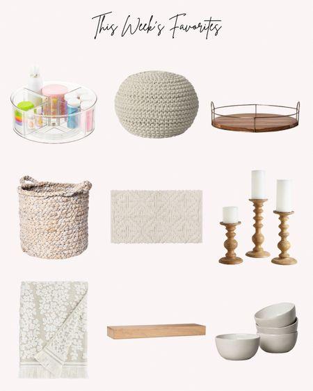 Favorites, most popular, home decor, neutral, baskets, rug, candlesticks, bowls, wooden shelf  #LTKhome #LTKstyletip #LTKunder50