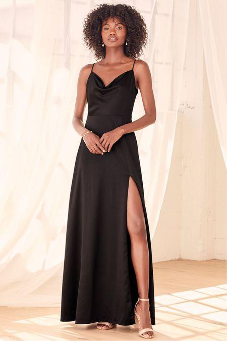 Black satin maxi spaghetti strap dress with slit  Engagement session dress Wedding guest dress   #LTKunder100 #LTKwedding