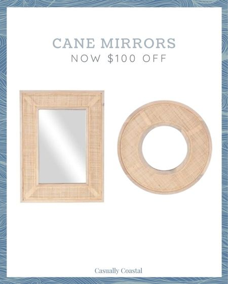 """Gorgeous cane mirrors, on sale for $100 off! The round mirror was previously included in one of my Friday Favorites! summer decor, summer decorations, summer home decorations, coastal decor, beach house decor, beach decor, beachy decor, beach style, coastal home, coastal home decor, coastal interiors, coastal family room, living room decor, coastal decorating, coastal house decor, home accessories decor, coastal accessories, living room decor, neutral decor, neutral home, summer accessories, entryway table decor, console table decor,  24"""" round mirror, 24"""" round wall mirror, cane mirror, coastal mirror, round cane mirror, rectangular cane mirror, wood and cane mirror, megan molten, entryway mirror, bathroom mirror, bedroom mirror, living room mirror, dining room mirror, hallway mirror, neutral mirror, cane, rattan, natural weave, natural decor  #LTKsalealert #LTKhome"""