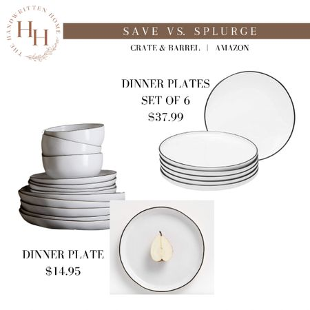 Crate and Barrel exclusive Leanne Ford dinnerware dupe!  Gorgeous white plated with hand painted black rim.  White dinnerware   kitchen plates   crate and barrel kitchen   dining room   shelf decor   wedding China   #LTKhome #LTKsalealert #LTKstyletip