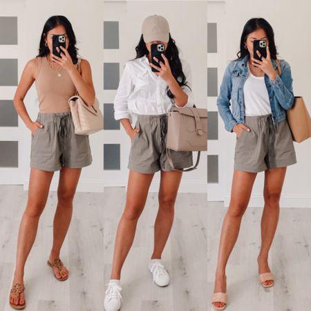 3 ways to style khaki olive green shorts for summer with white sneakers or kitten heel sandals   #LTKstyletip #LTKshoecrush #LTKSeasonal