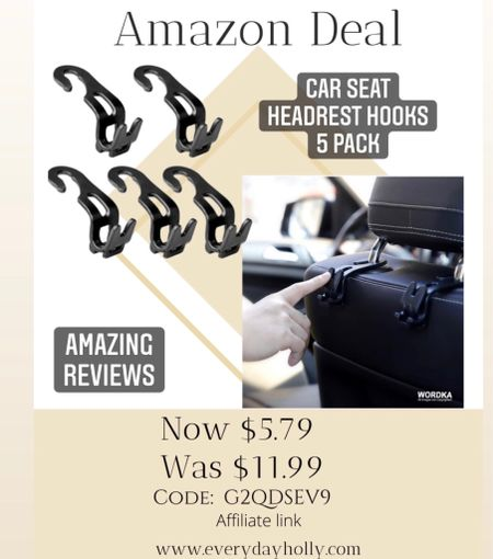 Amazon Deal! 🚗  Amazing reviews!  Newest Car Seat Headrest Hooks 5 PackMultifunctional Thick Design Back Headrest Hooks for Car foldable and rotatable,Car Purse Hook Used for Back Seat Organizers Storage Handbags Code:G2QDSEV9  #LTKsalealert #LTKtravel #LTKunder50