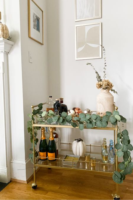 Fall bar cart, fall home decor, gold bar cart, wine, bourbon, studio mcgee, eucalyptus, Amazon finds http://liketk.it/2WQZC #liketkit @liketoknow.it #StayHomeWithLTK #LTKhome @liketoknow.it.home finding beauty mom home