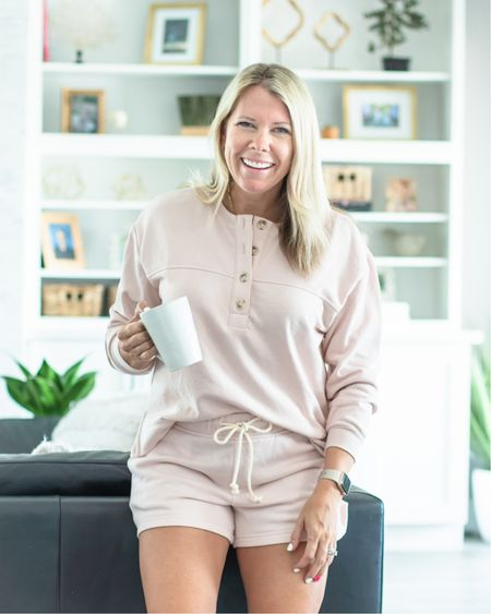 Love this light pink terry cloth matching set which is on sale for only $30 right now. The shorts are $12 and the sweatshirt is $17. Wearing a size small in both. Loungewear loft sale casual summer outfit travel outfit  #LTKsalealert #LTKSeasonal #LTKunder50