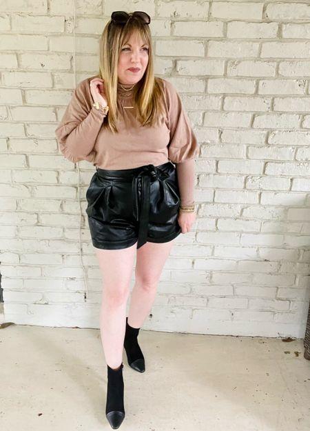 Head to toe Express! Balloon sleeve sweater, faux leather shorts, cap toe booties   #LTKworkwear #LTKstyletip #LTKunder50