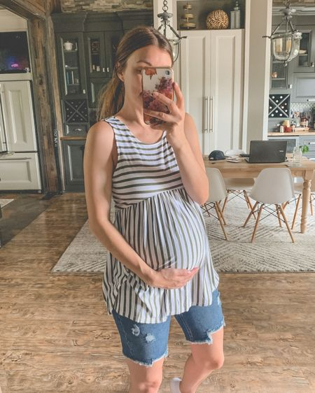 MATERNITY tank + shorts from Wal-Mart! I went with my pre-pregnancy size for both. This is the darkest wash of shorts…also comes in white + a lighter wash. http://liketk.it/3jU9E #liketkit @liketoknow.it