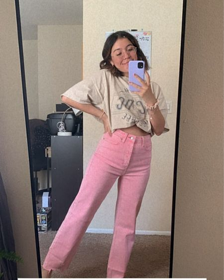 obsessed with these pink jeans from @target definitely size down if you get these! they have a lot of stretch. for reference i'm normally a size 2/26 and bought them in a size 0/25 http://liketk.it/3bevk #liketkit @liketoknow.it