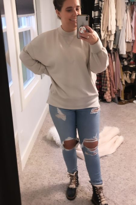 Saturdays outfit of the day. Jeans and tunic sweatshirt are from Abercrombie! I've also linked a really good dupe for these famous Marc Fischer boots from target!   #LTKstyletip #LTKSeasonal #LTKHoliday