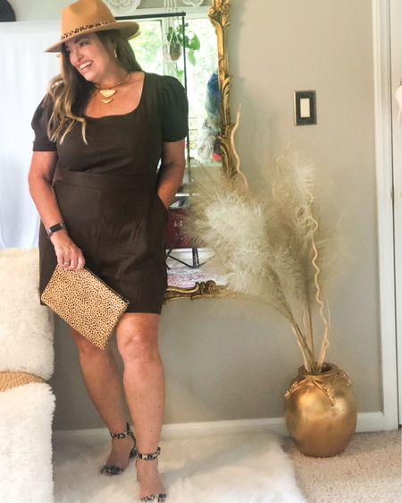 Chocolate brown Romper! Featuring a square neckline ( flattering) and a nice long length with pockets! I love it paired with leopard accessories! ( hat, shoes and clutch) it is also comfortable and value priced.  . . . . . . http://liketk.it/3jo40 #LTKstyletip #LTKcurves #LTKtravel #liketkit @liketoknow.it.family @liketoknow.it Download the LIKEtoKNOW.it shopping app to shop this pic via screenshot
