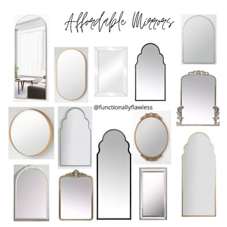 Affordable mirrors, framed, gold, black, silver, white, frameless mirrors, arched, round, scalloped arch, full length, beveled, modern, brass, champagne, gleaming mirror dupe, anthropology mirror dupe, pill shaped, oblong mirror, baroque inspired, antique, oval wreath  #LTKstyletip #LTKhome