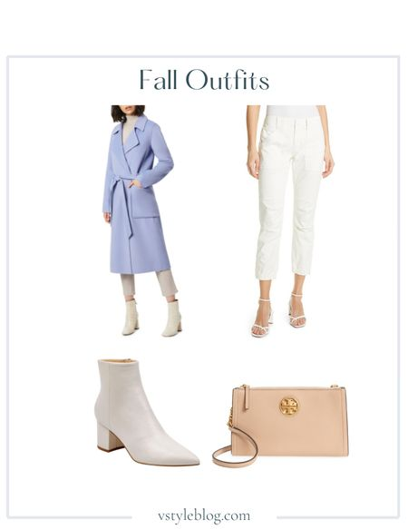 Fall outfits, Work wear, Teacher outfits, Back to school, Blue belted trench coat, White pants, White booties, Pointed toe booties, Brown crossbody purse  Bernardo Double Face Wool Blend Wrap Coat @ Nordstrom ($265)  Frame Trapunto Stitch Cuffed Moto Pants @ Bloomingdale's ($278) @ Nordstrom ($278) @ Frame ($278) @ Saks Fifth Avenue ($278) @ Net-A-Porter ($280)  Marc Fisher Jarli Bootie @ Zappos ($188) @ Nordstrom ($188.95) @ Marc Fisher ($189) @ Bloomingdale's ($189) @ Amazon ($188.95) Style tip: Best boots! So comfortable and sooooo stylish. Stand out in white boots and don't forget to spray protect them to keep them white!  Tory Burch Carson Zip Top Crossbody Bag @ Nordstrom ($248)  #LTKfit #LTKshoecrush #LTKstyletip
