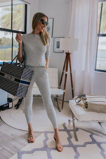 Casual elegant style, knit set , gladiator sandals , Dior tote bag , outfit style with tote bag    #LTKunder100 #LTKstyletip #LTKtravel