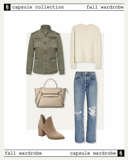Fall capsule wardrobe! Fall outfit idea! Utility jacket,  ash mere sweater, Ripped jeans, Booties,   #LTKunder50 #LTKstyletip #LTKunder100