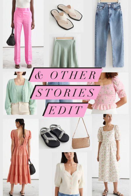 @liketoknow.it #liketkit http://liketk.it/3eliC & Other Stories Edit- long denim shorts, pink trousers, velvet sandals, high waisted straight jeans