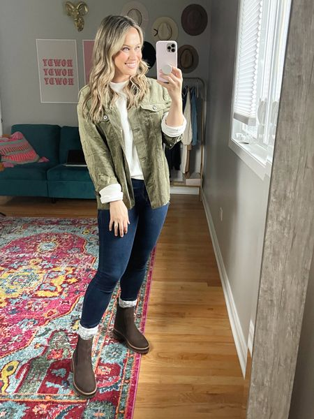 Fall Outfits: These boots are a must have for fall, I had no idea that Timberlands are so comfy! This outfit is so affordable! My high rise jeans are on sale, my sweatshirt is a target find and my green shacket under $20! // fall shoes // booties //   #LTKstyletip #LTKshoecrush #LTKsalealert