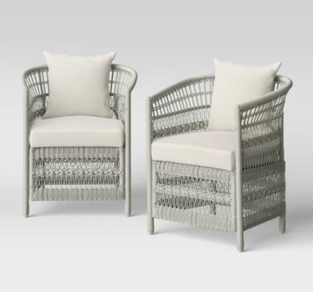 Sale Alert! Only $300! Wicker Patio Chairs. 2pk Patio Club Chair. Crafted with a rust-resistant steel frame with woven detailing, these club chairs provide timeless style to your outdoor decor. The cushioned seat and backs help you stay supported as you relax and unwind, while armrests keep you in extra comfort. Easy to blend effortlessly with any decor style, this club chair set makes it super enjoyable to read some books, enjoy a cup of drink or entertain guests.  #patio #patiofurniture   #LTKstyletip #LTKhome #LTKsalealert