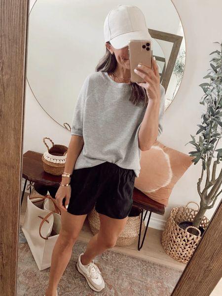 6 ways to wear this grey shirt sleeve sweatshirt.., 25% off this weekend. Has an oversized fit, went with my regular size (xs). //   #LTKstyletip #LTKsalealert